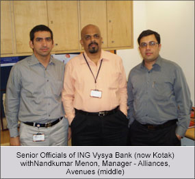 Senior Officials of ING Vysya Bank with Nandkumar Menon, Manager - Alliances - Avenues (middle)